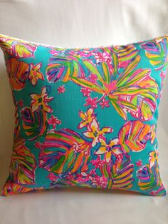 Lilly Pulitzer Pillow  Lilly Pillow Cover  by SweetBabyBurpies
