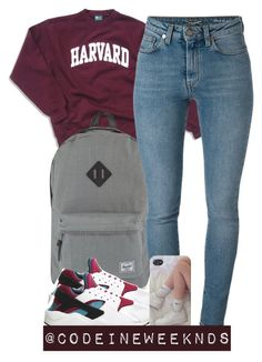 """8:26:15"" by codeineweeknds ❤ liked on Polyvore featuring Herschel Supply Co., Yves Saint Laurent and NIKE"