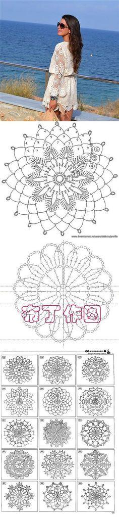 "nice dress with diagrams [ ""nice crochet dress with diagrams"" ] # # # # # # # # # Mode Crochet, Crochet Diy, Crochet Skirts, Crochet Tunic, Crochet Mandala, Crochet Woman, Crochet Motif, Irish Crochet, Crochet Designs"