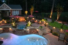 Or, use lights to make a border around the pool in the backyard for even more beautiful and appealing view of the water at night. Description from topinspirations.com. I searched for this on bing.com/images