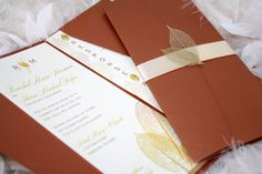 Golden Fall / Autumn Leaf Wedding Invitation by SDezigns