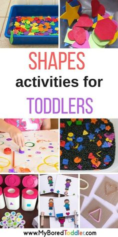 Shapes activities for toddlers. A collection of shape crafts and activities that are perfect for 1 year olds, 2 year olds, 3 year olds. Shape sorting, matching, sensory play and more perfect for 1 year olds, 2 year olds, 3 year olds. Math activities for toddlers.