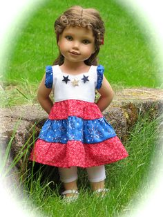 Patriotic Summer Outfit for American Girl by RainbowLilyDesigns, $28.00