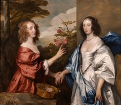 The Cheeke Sisters; Essex, Countess of Manchester (d.1658) and Anne, Lady Rich (d. c.1655) - Sir Anthony Van Dyck - 1640