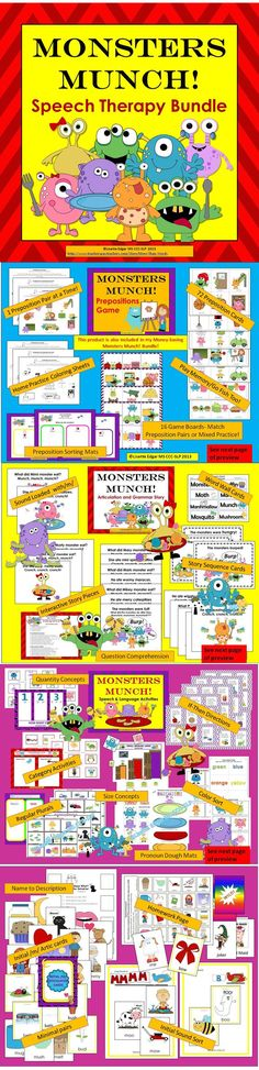 Monsters Munch! Speech Therapy printable bundle for Halloween or anytime! includes 3 products: Monsters Munch! Articulation & Grammar Story, Prepositions Game, Speech and Language Activities. You get a sound-loaded, interactive original story with repetitive text for initial m & ch, basic concepts:under/ over, between/ beside, in front/ behind. Teach pronouns he/she, articulation of Initial /m/ & ch, syntax, categories, conditional directions, size concepts, artic, phonological awareness. $