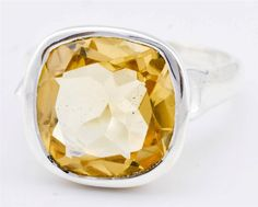 Natural Citrine Ring Solid 925 Sterling Silver Jewelry Size 7.75 IR23897