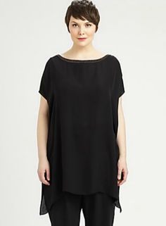 a6343cf17f Eileen Fisher Plus Size Black Silk Tunic Fall Fashion 2016