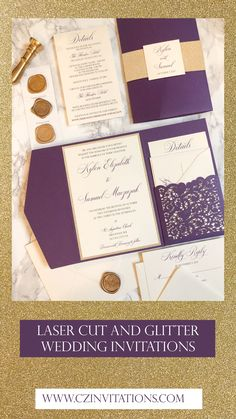 Glitter + Laser Cut Invitation! This Laser Cut Pocket Invitation is timeless and elegant. The violet pocket is Laser Cut with a Lace design, and has a beautiful gold glitter touch. Take it up a notch with a wax seal! Plum Wedding Invitations, Glitter Invitations, Unique Invitations, Wedding Stationery, Pocket Invitation, Laser Cut Invitation, Invitation Envelopes, Invitation Design, Gold Wedding