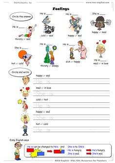 esl worksheets | MES-English.com - worksheets - feelings