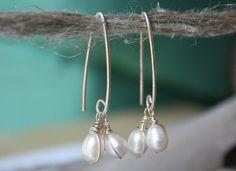 Sterling Silver Earrings White Pearl Long Dangling by YLOjewelry, $33.00