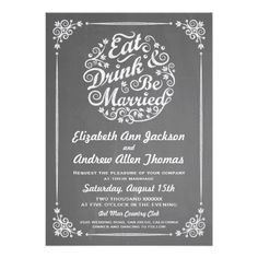 Chalkboard Eat Drink and Be Married Wedding Invitation