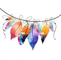 Boho estilo abstracto acuarela colgando diseño de plumas, mano creativa dibujado elemento decorativo. Vector Gratis