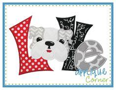 Love Quirky Bulldog Applique Design (wrong colors ;-)