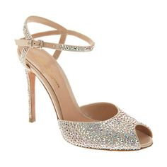 Gianvito Rossi Rhinestone Peep Toe Sandal at Barneys.com style # 502428851