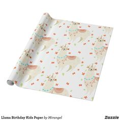 Llama Birthday Kids Paper Llama Birthday, Birthday Kids, Custom Wrapping Paper, Presentation, Wraps, Presents, Gift Wrapping, How To Make, Gifts