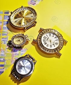 M-166; Four Watch Faces Most Have Rhinestone Accents-Can be Used for Parts or Embellishments Upcycled Crafts, Watch Faces, Craft Items, Rhinestones, Embellishments, Bracelet Watch, Canning, Watches, Silver