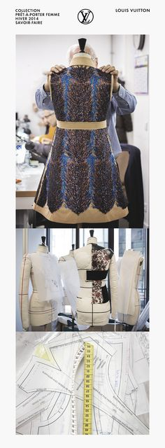 The Making of a Dress - moulage; patterncutting; fashion atelier; fashion design studio; embroidery; dressmaking // Louis Vuitton