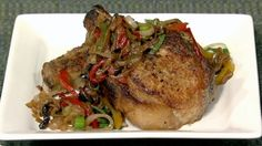 Mario Batali's Pork  Chops  with Peppers & Capers