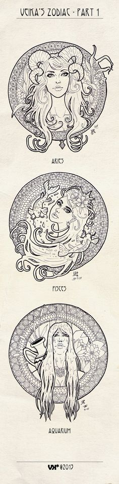 I've bought a book about Alfons Mucha and my Art Nouveau madness has just started The first of 12 zodiac signs, I chose Aries the first because I was born in April. This is just black ink pen on pa...
