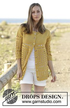 Crochet jacket with lace pattern, worked top down in DROPS Cotton Merino. Sizes S - XXXL.