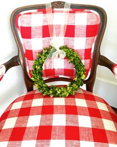 Holiday and Christmas favorites from the December Pretty Preppy Party. Red Christmas, Red Cottage, Christmas, Buffalo Check Chair, Neutral Decor, Farmhouse Christmas, Fresh Garlands, Vintage Christmas, Christmas Time