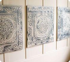 Pottery Barn Vintage Tin Tiles- Knock Off Decor ~~LIVING ROOM~~