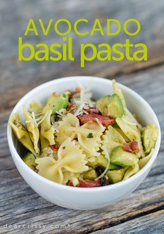 Avocado Basil Pasta  8 ounces bow tie pasta  2 medium avocados, halved, seeded, peeled, and chopped  6 slices cooked bacon, crumbled  2 medium ripe tomatoes, roughly chopped  2/3 cup chopped fresh basil  2 tablespoons lemon juice  1 tablespoon olive oil  3 cloves garlic, minced  1/4 teaspoon ground black pepper  1/8 teaspoon salt    combine all!