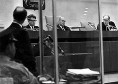 Jerusalem, Israel, The judges in the Eichmann (eveil man in glass booth) Trial, 1961. From right to left: Halevi, Landau and Raveh.