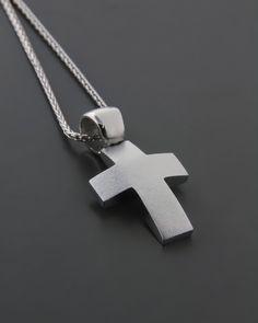 Σταυρός βαπτιστικός λευκόχρυσος Κ14 Baby Baptism, Cufflinks, Baby Boy, Pendants, Mens Fashion, Diamond, Invitation, Jewelry Design, Accessories