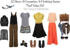 Round the World in 22 days? It's possible! Check out this 8 piece travel wardrobe with 22 travel outfits :-)