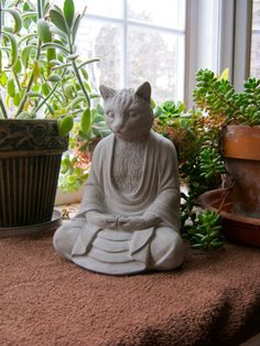 Buda gato estatua, budismo concreta grandes gatos, Buda figura, decoración de arte jardín de cemento