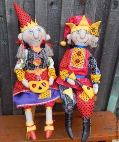 Купить скоморохи - разноцветный, скоморох, текстильная кукла, интерьерная кукла, авторская ручная работа, радость