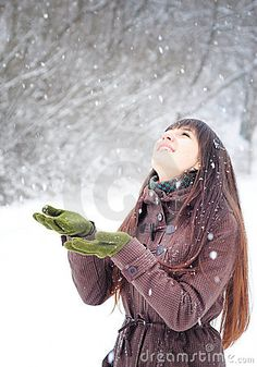 Beautiful young woman winter portrait