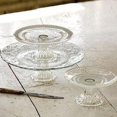 Glass Pedestal Cake Stands, Set of 3-1