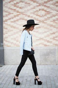Dulceida. Biker Zara. Jeffrey Campbell shoes. Street Style