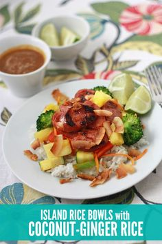 Island Rice Bowls with Coconut Ginger Rice - Simple enough for a weeknight and a perfect meal for a dinner party! Bacon Recipes, Dairy Free Recipes, Rice Recipes, Asian Recipes, New Recipes, Whole Food Recipes, Vegetarian Recipes, Favorite Recipes, Healthy Recipes
