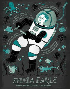 Women in Science: Sylvia Earle by Rachelignotofsky on Etsy