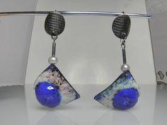 big copper silver earrings with hot enamel by GENEZAjewelryART, $149.90