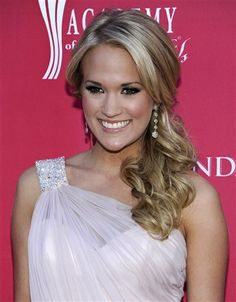 Curly side-do. Different angle. Carrie Underwood.