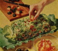 Perfection Salad - Vintage Recipe  Love vintage photos of food. The colours are excellent. I think I ate this way back when. Did you?