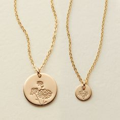 Birth Flowers Collection – Made By Mary Gold Bar Necklace, Disc Necklace, Necklace Sizes, Bracelet Sizes, Necklace Lengths, Necklaces, February Birth Flowers, Gifts For New Mothers, Made By Mary