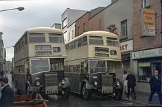 The origins of bus services in Dublin go back to the first horse tram, the Terenure route, in A network of tram routes developed quickly, and the network was electrified between 1898 and Old Pictures, Old Photos, Images Of Ireland, Buses And Trains, Dublin City, Dublin Ireland, Street Photography, Street View, 1970s