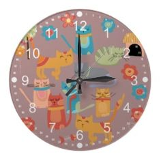 Cute Colorful Kitty Cats Gifts for Cat Lovers Pink Wallclocks  #clocks #wallclocks #zazzle #prettypatterngifts