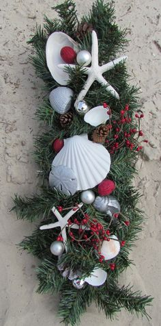 "Christmas Swag/Wreath 20 "" with Shells, Coastal Christmas, Beach Christmas… Christmas Swags, Christmas Door, All Things Christmas, Christmas Holidays, Christmas Ornaments, Christmas Bathroom, Coastal Christmas Decor, Nautical Christmas, Tropical Christmas Decorations"