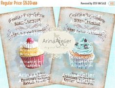 SALE - 30%OFF - Shabby Chic Patisserie Set no.5 - Large Images - Backgrounds - 5x7 inch - Digital Print - to print on - Tote, Bags, t-shirts