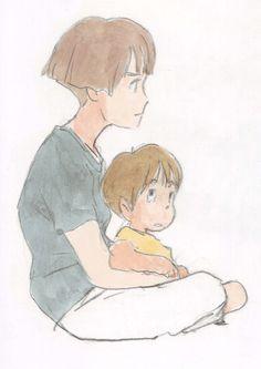 Hayao Miyazaki, Studio Ghibli, Gake no Ue no Ponyo, The Art of - Ponyo, Lisa (Gake no Ue no Ponyo) Hayao Miyazaki, Manga Art, Anime Art, Studio Ghibli Art, Girls Anime, Ghibli Movies, Totoro, Oeuvre D'art, Les Oeuvres