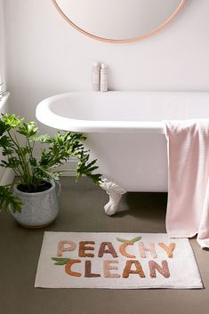 Shop Peachy Clean Bath Mat at Urban Outfitters today. We carry all the latest styles, colours and brands for you to choose from right here. Bathroom Cleaning, Bathroom Rugs, Bath Rugs, Bathroom Inspo, Bathrooms, Bathroom Tray, Bathroom Ideas, Girl Bathroom Decor, Peach Bathroom