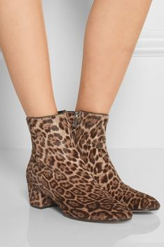 Gianvito Rossi|Leopard-print calf hair ankle boots|NET-A-PORTER.COM