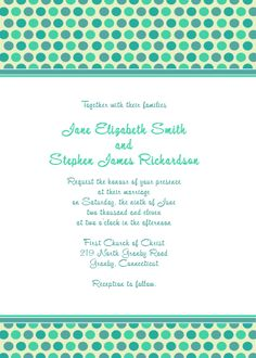 Blue polka dots Free wedding invitation and RSVP