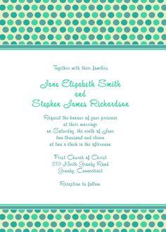 Blue polka dots Free wedding invitation and RSVP